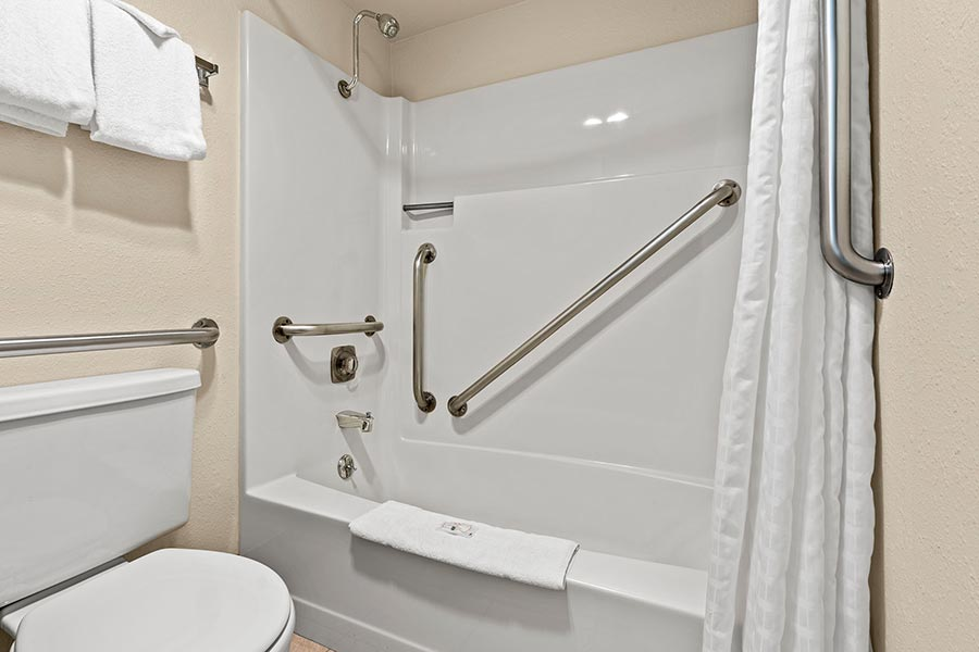 accessible bathroom with tub, toilet, and grab bars